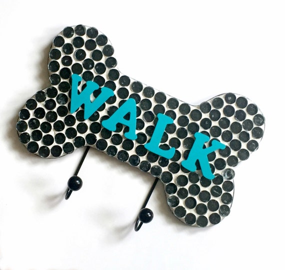 Mosaic Leash Holder, Mosaic Leash Hooks, WALK Leash Holder, Black White Teal Aqua Leash Holder, Bone Shaped Leash Rack Hook Holder,