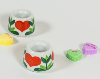 hearts, tiny candle holders, Funny Design, Valentine's Day, sweetheart, miniature, fairy garden pot, retro fun, candleholders