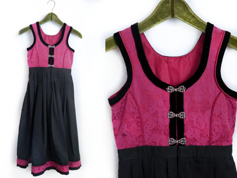 Kids Norwegian Folk Dress Pink and black Velvet Girls