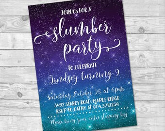 Slumber Party Birthday Invitation, Sleepover Party Invitation, Pajama Birthday Party invite, Girl's birthday, sleepover, Slumber Party