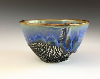 Blue Whiskey Cup, Small Tea Bowl in Gray-Green and Blue Crystalline Glaze, Hand Built Ceramic Cup In Porcelain Clay.  2.25 in.  Food Safe.