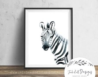 Zebra Watercolour - Wall Art Print