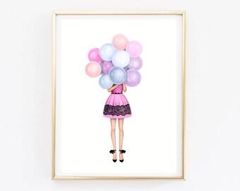 Printable Art Instant download Birthday girl art Art birthday theme Girly wall art Fashion girl art Feminine art Gift for her Fashion sketch