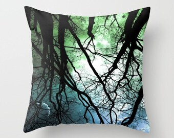 Moonlight Forest Throw Pillow, Starry Night, Dorm, 16x16, 18x18, 20x20, Trees Pillow Case, Woods Pillow Case, Night Sky,Woodland,Moon,Stars