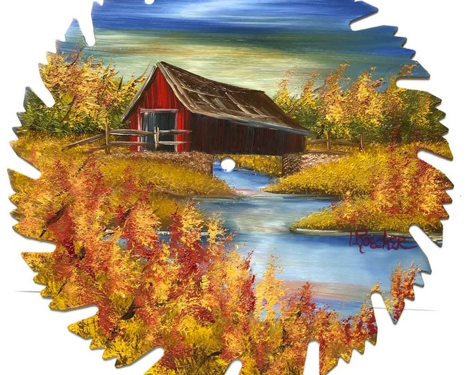 Hand Painted Saw Blade Fall  Covered Bridge