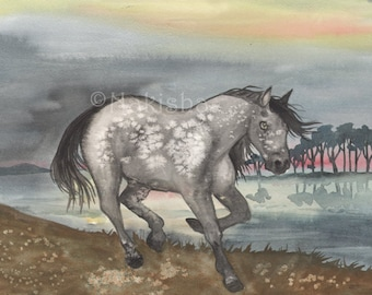 I Horse - Original Art  Watercolor Horse Painting