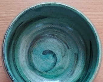 Ceramic and pottery Handmade shallow bowl Stoneware Unique breakfast ceramics serving small bowl Turquoise round bowl Gift for holidays