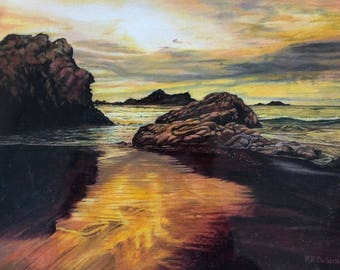 Sun Setting on the Surf   Color Pencil