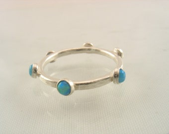 Ocean Charm Ring - sterling silver band with Lab Opals