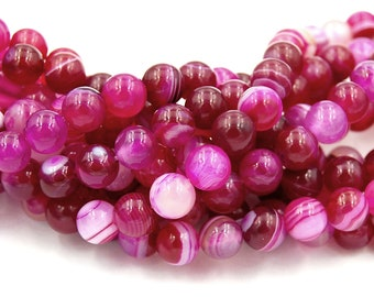 Magneta Pink Striped Agate 4mm, 6mm, 8mm, 10mm Round  -15 inch strand
