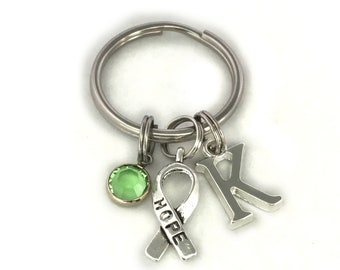 Hope Keyring, Monogram Initial Letter, Personalized Keychain, Swarovski Birthstone, Key Chain, Key Fob, Hope Against Cancer, Key Ring