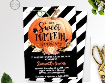 A Little Pumpkin Baby Shower Invitation | A Little Sweet Pumpkin | Halloween Baby Shower | Fall Baby Shower Invitation | Black and White