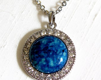 Blue Fossilstone Round Pendant Necklace ~ Halo Pendant Necklace ~ Round Blue Fossilstone Cabochon ~ Adjustable 18 - 22 inches