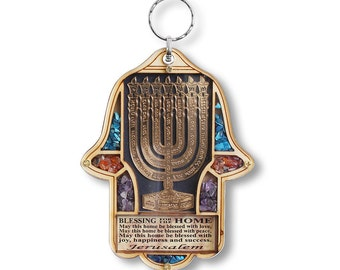 Jewish Wooden Hamsa Menorah Blessing for Home - Good Luck Wall Decor with Gemstones