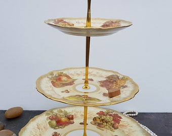 Three Tier Cake Stand Made Using Hammersley Autumn Gold Bone China Plates Decorated With Fruits And Nuts ~ Signed D. Millington