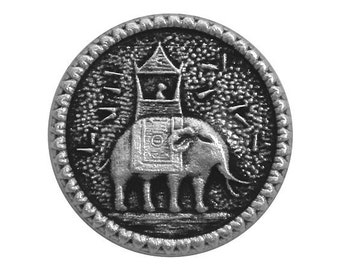 2 Howdah Elephant 1 inch ( 25 mm ) Metal Buttons