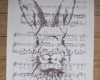 easter bunny on vintage sheet music
