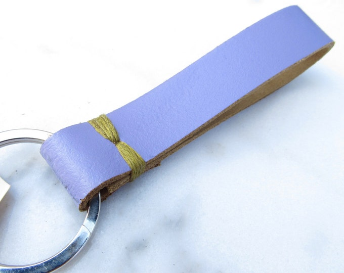 Clearance Sale: **READY TO SHIP**  Lilac Stitch Upycled Leather Keychain