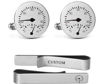 Speedometer Cufflinks Engraved Car Speedometer Jewelry Drivers Men's Cufflinks for Wedding Birthday Groomsman Groom Tie Bar Tack Clips