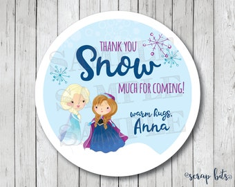Personalized Frozen Party Tags, Thank You SNOW Much Party Stickers, Frozen Birthday Party Labels, Frozen Stickers, Frozen Thank You Tags