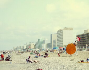 Beach people print, crowded beach photography, Virginia Beach scene, mint aqua orange coastal picture, nautical decor Summer sunbathing art