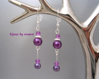 jewelry purple fancy earrings hanging round pearl beads and drops