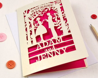 Personalised Papercut Couple Engagement Card, Banner Engagement Congratulations Laser Cut Card, sku_couple