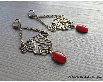 Alexine Art Nouveau earrings, with cornaline cabochon
