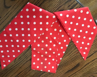 Vintage red and white polka dots head, neck scarf. Rosie the riveter.