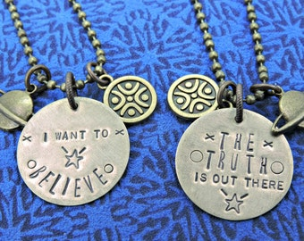 The X-Files hand stamped charm necklace