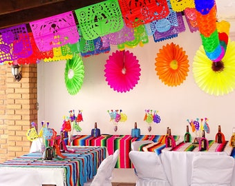 5 Pack Plastic Picado Banners, Party Decorations, Over 70 feet Long, Cinco de Mayo, Multicolored PAPER garland, Mexican Fiesta Decoration.