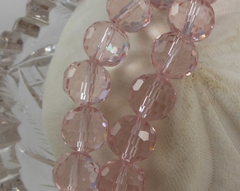 Crystal Beads 12mm Faceted Round Disco Balls Light Pink (Qty 6) PH-DB12-LPINK
