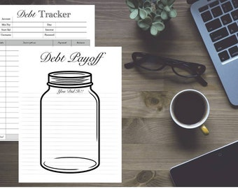 Debt Payoff Chart / Tracker Refill / Mason jar / Insert with Account information sheet; Classic 7 x 9.25 - Disc bound PLANNER PRINTABLE