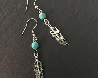 Native American Earrings, Silver Feather, Turquoise Earrings, Turquoise Jewellery, Ethnic, Bohemian, Boho, Tribal, Hypoallergenic