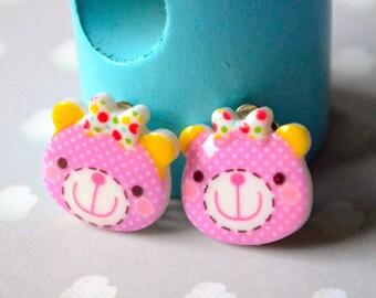 Earrings plush purple clips