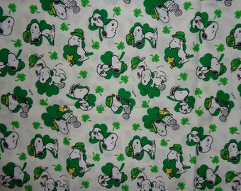 White Snoopy St Patrick's Day Cotton Fabric by the Half Yard