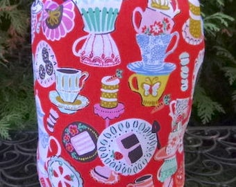 Knitting project bag, WIP bag, drawstring bag, Rummikub tile bag, Mad Hatter Tea Party, Suebee