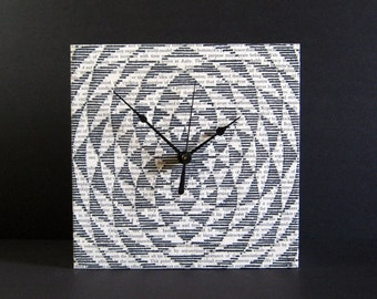 Black & White Art Clock - Black Ink Drawing on Book Paper Collage - 8x8 Square Art Tile - Kinetic Sculpture Modern Op Art - time is spinning