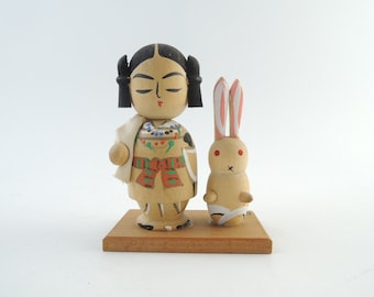 Vintage Japanese Kokeshi Doll, The Hare of Inaba