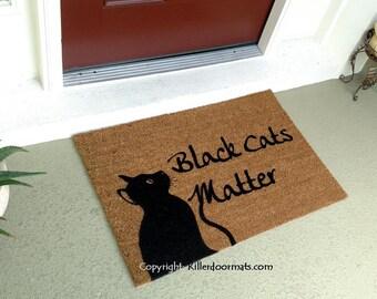 Black Cats Matter Custom Cute Hand Painted Welcome Door Mat By Killer  Doormats