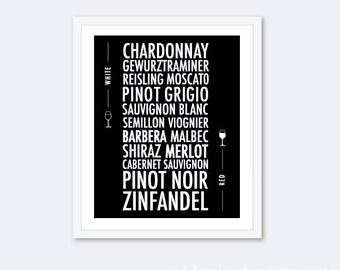Types Of Wine Art Print - Wine Chart Print - Kitchen Typography Poster - Wine Wall Art - Black and White Decor - Modern Wine Art