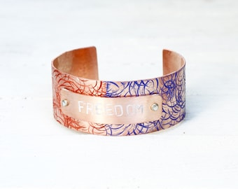 Patriotic Gifts for Her, 4th of July Bracelet, Red White and Blue for Her, Patriotic Bracelet, Patriotic Jewelry, Hammered Copper Bracelet
