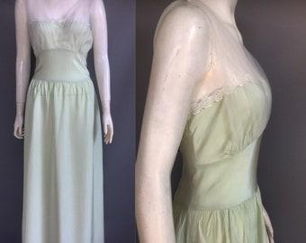 1940s nightgown in pistachio green rayon silk