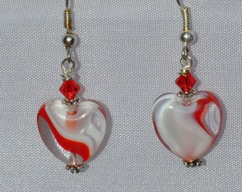 Clear Heart with Swirls Earrings with Genuine Swarovski Crystals