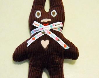 Bunny Toy  Handmade Corduroy Stuffed Bunny Free Shipping