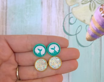 Whale Tail& Druzy Studs Combo