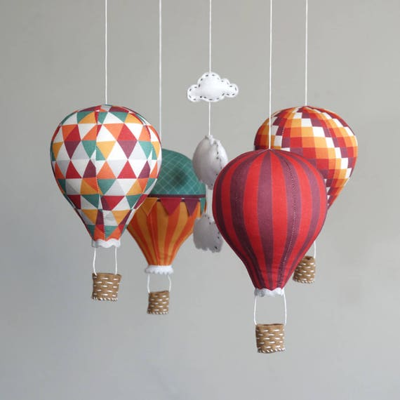 nursery decor diy baby mobile kit hot air balloon modern. Black Bedroom Furniture Sets. Home Design Ideas
