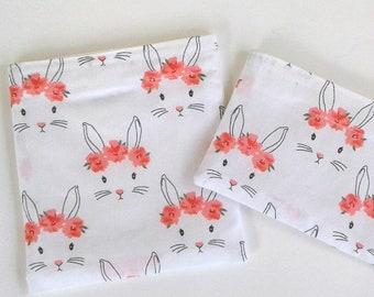 Lapins dans le sac à collation couronnes fleurs, cadeau de printemps gratuit, durable, sans BPA, sac à collation réutilisable, sac à lunch les filles, l'école