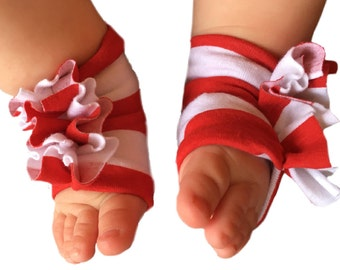 Red and White Striped Shoes - Baby Red and White Shoes - Stripe Shoes - Baby Girl Shoes - Baby Sandals - Red and White - Baby Shoes - Shoes