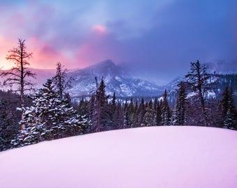 Colorado Photography   Rocky Mountain National Park   Longs Peak   Sunrise Photo   Winter   Landscape Photography   Canvas and Print